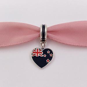 925 cuentas de plata Nueva Zelanda, bandera del corazón, encanto colgante, se adapta a la collar de pulseras de estilo Pandora Europea para la fabricación de joyas 791511ESMX