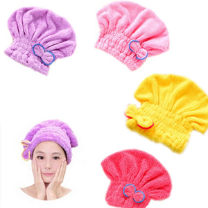 Wholesale- Free Verschiffen-bequeme Textilnutzliche trockene Microfiber-Turban-schnelle Haar-Hüte wickeln Tücher ein, die Kappen-Duschkappe baden