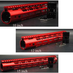 Red anodizado 10 '' 12 '' 15 '' polegadas M-LOK Handguard Rail Free Float sistema de montagem de aço ultraleve / porca de barril de alumínio