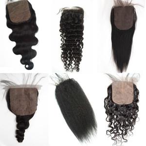Mongolische reine Haar gerade Seide Basis Schließung versteckte Knoten brasilianische peruanische Menschenhaar Freies Teil billige Seide Schließung FDSHINE HAIR
