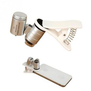 Evrensel 60X Optik Zoom Geniş 3 LED Işık Clip Açısı Mini Büyüteç ile Mobil Telefon Lens için Teleskop Kamera Mikroskop Lens Klip