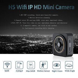 H5 Wifi usable cámara IP HD 720P 150 grados lente gran angular Mini cámara inalámbrica P2P Cuerpo de la cámara de visión nocturna Mini DV videocámara