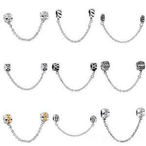 50 pcs Mix Estilo de Prata banhado Moda Cadeia De Segurança Europeu Charme Beads Fit Estilo Pandora Pulseira Colar Pingente DIY Jóias Original