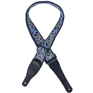 جاكار نايلون باس غيتار الشريط طبقة مزدوجة 2.5MM مع نهايات جلدية - الأزرق