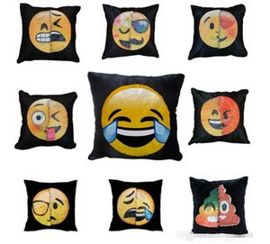 Nuevo Cosplay Emoji Lentejuelas decoración Funda de almohada Caca Colores dobles Caras Expresión Sirena Fundas de almohada Sofá Casa Decoración de coche Cojín Regalo