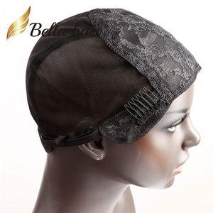Cabelo Bella Professional Glueless Duplo Lace Caps para Fazendo peruca com ajustável correias e Combs Swiss Lace Preto Brown S M L