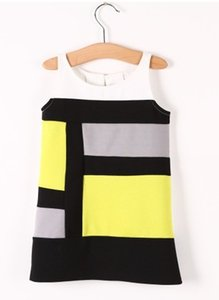 New Children Girls vest dress Princess Geometric patterns Dresses wholesale