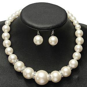 Имитация жемчуг свадебные ювелирные наборы мода кристалл свадебный подарок классический заявление о воротнике Choker ожерелье серьги для женщин оптом