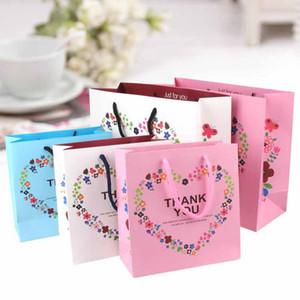 3 dimensioni grazie cuore fiore stampa Boutique Packaging Borse Carta shopping bag con manico Borse regalo festa di nozze