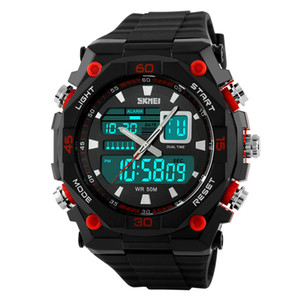 SKMEI Brand Men Sports Watches Digital LED Display Chronograph Multiple Time Zone 50M Waterproof Swim Rubber Wristwatches 1092