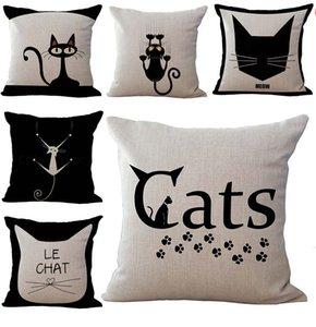 Funny Black Cats Dekokissen Hüllen Kissenbezug Pillowcase Leinenbaumwollder Quadrat Kopfkissenbezug Pillowslip Home Decor 240509
