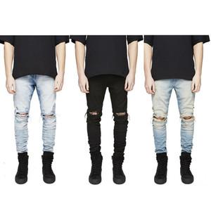 Hombres libres del envío Hi-Street Slim Fit Jeans rasgados Hombres Denim Joggers angustiados Agujeros de rodilla Pantalones vaqueros lavados destruidos