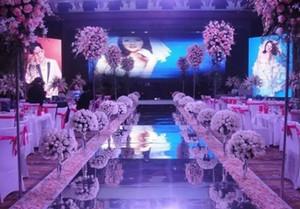 Новое прибытие 1м / 1.2м Wide Shiny Wedding Centerpieces Декор Runner Aisle Silver / Gold Пластиковые Зеркало Ковер Бесплатная доставка MYY