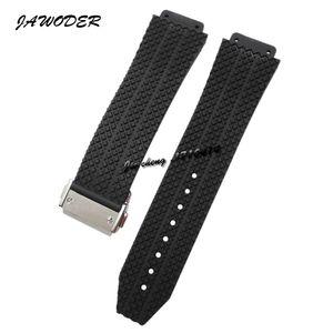 JAWODER Watchband 24mm 25mm 남자 / 여자 스테인리스 버클 Clacp 블랙 다이빙 실리콘 고무 시계 밴드 스트랩 빅뱅