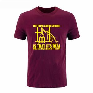 Наука реальная считаю химия эксперимент Теория Большого Взрыва печать смешно с коротким рукавом мужчины футболка О-образным вырезом мужская футболка топы DIY-0227D