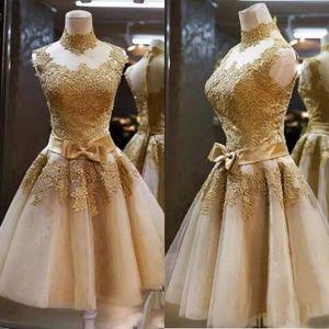Прекрасные золотые коктейльные платья A-Line High шеи ленты цветочные аппликары ясных задних коротких домохозяйственных платьев