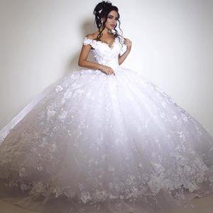 Vestidos de novia de encaje de Dubai Vestido de fiesta grande de la vendimia Vestidos de novia árabes fuera del hombro Atan para arriba Longitud del piso blanco Marfil Precioso vestido