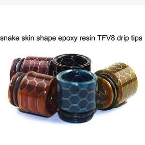 스네이크 스킨 모양 에폭시 수지 TFV8 Dip Tip 810 Drip Tip with Box 패키지 TFV8 Big Baby TFV12 Atomizer Vape ecigs DHL