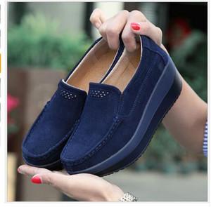 İlkbahar yaz kadın platformu ayakkabı kadın hakiki deri hemşire üzerinde kayma tek ayakkabı platformu ayakkabı kama kadın 828