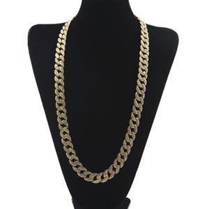 Хип-хоп 18K настоящее золото покрытием Майами кубинский ссылка Bling блестящий полный Кристалл горный хрусталь ожерелье мужские Bling шипованных Cubra цепи ожерелье ювелирные изделия