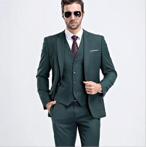 Мужчины Slim Fit Темно-Зеленый Костюм 2017 Мода One Button Мужские Костюмы Жених Смокинги Groomsmen Лучший Мужчина Свадебные Костюмы (Куртка + Брюки + Жилет)