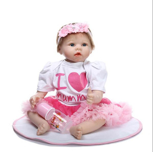 22 inch 55CM Cloth Body Reborn Baby Silicone Vinyl Dolls Handmade Realistic Newborn Lovely Gift