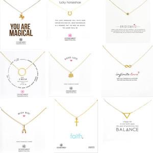 9 estilos con tarjeta blanca collar dogeared de oro Elefante Pearl Love Wings Unicorn Key Colgante Collar de oro para mujer Joyería de moda