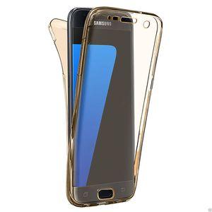 ترف 360 درجة حماية كامل الجسم حالات لسامسونج غالاكسي S5 S6 S7 S8 Note5 7 غطاء اكسسوارات الزجاج المقسى