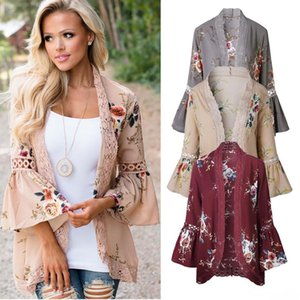Womens Fashion Autumn Casual Flower Floral Print Long Sleeved Cardigan Coat Ladies Fall Open Front Outwear Outerwear