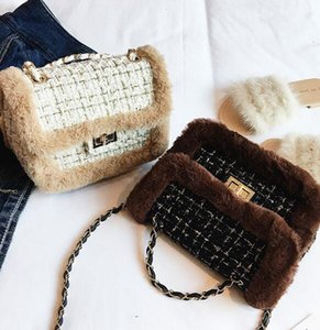 Bag 2017 winter new woolen personalized chain Messenger bag fashion plush shoulder bag
