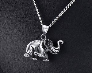 Petit collier éléphant chanceux de Hommes en argent en acier inoxydable argent Bijoux bijoux amateurs d'animaux gratuit 24 pouces Chaîne PN-568