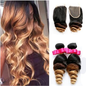 Honey Blonde Ombre Brazilian Hair With Closure Three Tone 1B 4 27 Loose Deep Wave Ombre Hair 3 Bundles With Lace Closure
