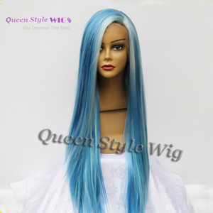 Newest Pastel Blue Color Hair Lace Front Wig Synthetic Light Blue Highlight Super Gorgeous Lace Front Wig for Black  White Woman