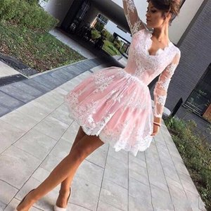 2018 New Charming Short Homecoming Kleider Einfache V-Ausschnitt Lange Illusion Ärmel Party Kleider Spitze Applique Prom Cocktailkleider