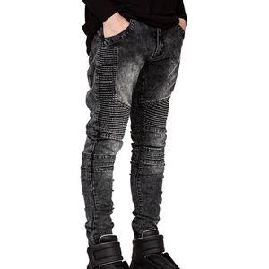 Atacado-Mens Skinny Biker Jeans Men 2016 Hi-Street Rasgado Rider Denim Jeans Motocicleta Runway Slim Fit Lavado Moto Denim Calças Corredores