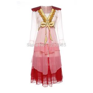 Envío gratis 2017 rosa profundo cuello en V manga larga con volantes vestido largo de las mujeres lentejuelas vintage vestido de fiesta de noche elegante