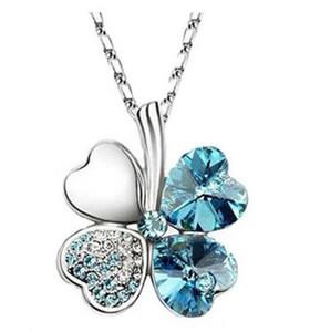 Promoção Preço Colar de cristal austríaco trevo quatro folha pendente colar strass colar pendente para mulheres