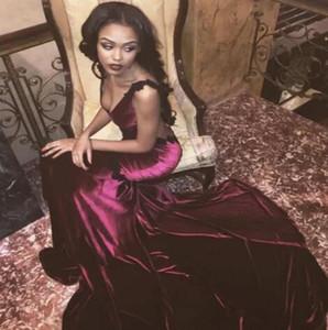 Seksi Aç Geri Bordo Şarap Kırmızı Gelinlik Modelleri Seksi 2017 Mermaid V Boyun Kadife Saten Uzun Tren Parti Abiye giyim Ucuz