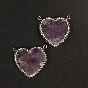 5 Pcs Natural Raw Amethyst Geode Connector Link Zircon Crystal Pave Double Loops Purple Amethyst Cluster Heart Pendant Connector 30*30mm