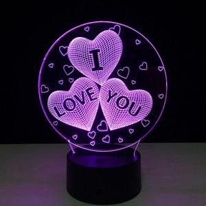 3D оптическая лампа Love Heart I Love Вы Night Light DC 5V Питание от порта USB пятые батареи Оптовая Dropshipping Бесплатная доставка