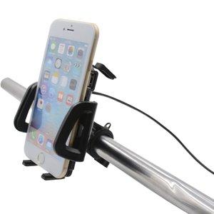Motocicleta 360 Rotación del cargador del USB del soporte del manillar GPS del teléfono móvil Soporte del soporte del soporte para iphone 7/7 Plus / 8
