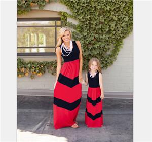 Sommer Stil Familie passende Outfits Mutter Tochter Kleider Kontrastfarbe blau A-Linie Kleid knöchellangen Mutter Kinderkleidung