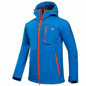 Vente en gros-Outdoor Shell Veste d'hiver Marque Randonnée Softshell Hommes coupe-vent imperméable thermique pour la randonnée Camping