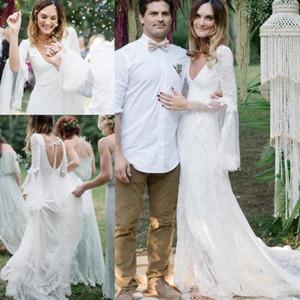 Spitze tiefem V-Ausschnitt Strand Boho Hochzeit Dresse Langarm mit Band Open Back Vestidos de Novia böhmischen Brautkleid Land Braut Kleid
