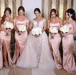 2017 Blush Rosa Damas De Honra Vestidos Querida Sereia Side Divid Maid of Honor Vestidos Fora do Ombro Barato Wedding Party Guest Wear