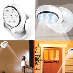 5W 7 개의 LED AUTO 모션 센서 빛 벽 램프 무선 광 모션 360도 6V 회전 빛 화이트 포치 / 내각 조명 활성화
