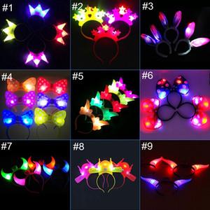 Creative LED enfants peluche rougeoyante jouets lumineux noeud papillon cornes de princesse tête de fleur coiffe clignotant couronne impériale pour Halloween