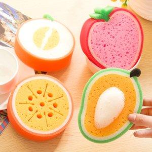 esponja engrosamiento de la fruta para limpiar el paño de microfibra tela paño de cocina paños de cocina al por mayor de descontaminación fuerte