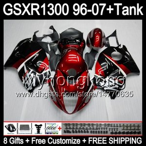 gloss red 8gift Para SUZUKI Hayabusa GSXR1300 96 97 98 99 00 01 13MY21 GSXR 1300 GSX-R1300 GSX R1300 02 03 04 05 06 07 TOP rojo negro Fairing