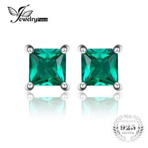 Jewelrypalace Square 0.6ct Created Created Russian Nano Emerald 925 Sterling Silver Stud Earrings Fashion Jewelry for Women
